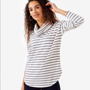 LOFT Striped Waffle Cowl Neck Top grey & white